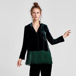 Zara Woman Studio Mulberry Silk Fringe Jacket